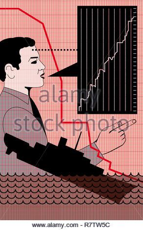 Nicht Geschäftsmann Lügen über den Erfolg des Unternehmens Stockbild