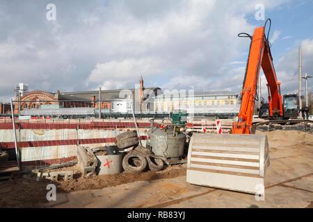 Baustelle, Stiftung, Bremer City Gate am Bahnhofsplatz, Bremen, Deutschland, Europa Bagger ich Baustelle, Fundament, Bremer City Gate bin Bahnh Stockbild