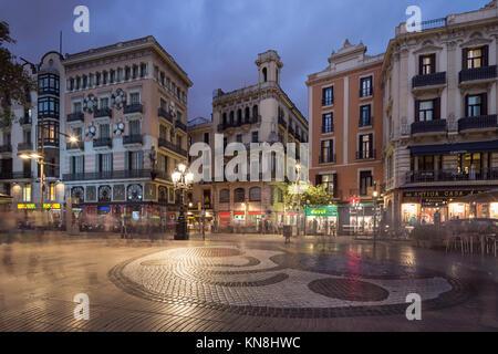 Las Ramblas, La Rambla, Miro Mosaic, Barcelona, Catalunia, Spain, Stockbild