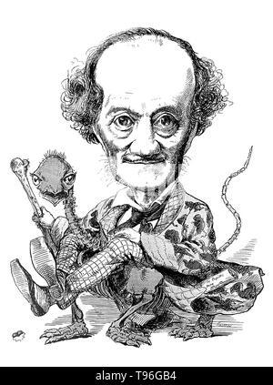 Professor Owen montiert auf eine Chimäre. Richard Owen (20. Juli 1804 - 18. Dezember 1892) war ein englischer Biologe, vergleichende Anatom und Paläontologe. Eine seiner Positionen war, dass der prosector für den London Zoo, was bedeutete, dass er hatte zu sezieren und jeder Zoo Tiere, die in der Gefangenschaft gestorben bewahren. Dies gab ihm große Erfahrung mit der Anatomie von exotischen Tieren. Er produzierte eine Vielzahl von wissenschaftlichen Arbeiten, aber ist wahrscheinlich am besten heute für die Ausprägung des Wortes Dinosauria erinnert. Stockbild