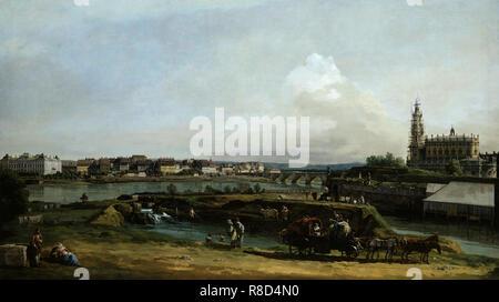 Dresden vom linken Ufer der Elbe gesehen, unterhalb der Befestigungsanlagen, 1748. In der Sammlung der Staatlichen Kunstsammlungen Dresden gefunden. Stockbild