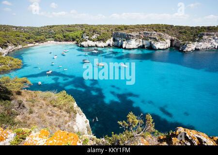 Bucht von Cala Macarella - Cala Macarelleta - Menorca - Balearen Stockbild