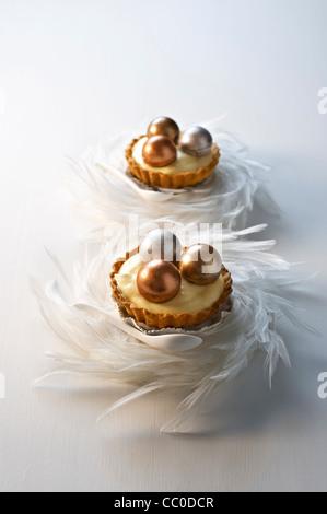 Schokolade und Passionsfrucht/Maracuja-Torte Stockbild