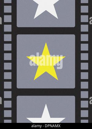 Ein Filmstreifen mit Sternen Stockbild