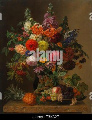 Stillleben mit Blumen und Früchten, 1836. In der Sammlung des Landesmuseum für gefunden, Kunst und Photographie, Oldenburg. Stockbild