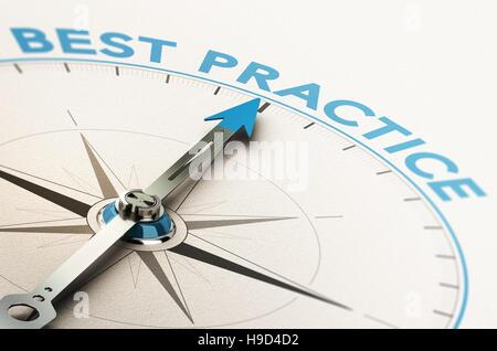 3D Abbildung eines Kompasses mit Nadel zeigt den Text best practice Stockbild
