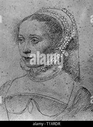 Bildende Kunst, Francois Clouet (1510 - 1572), Zeichnung, Jossine de Pisseleu, Dame de Lenoncourt, Comtesse de Vignory, Porträt, 1543, Musée Condé, Chantilly, Additional-Rights - Clearance-Info - Not-Available Stockbild