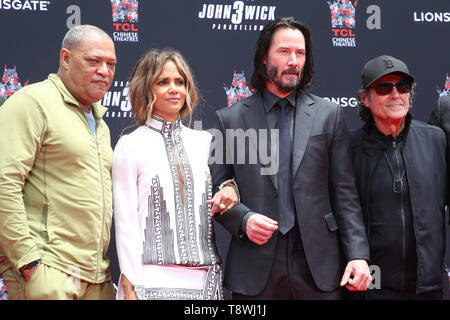 Mai 14, 2019 - Hollywood, CA, USA - 14. Mai 2019 - Hollywood, Kalifornien - Laurence Fishburne, Halle Berry, Keanu Reeves, Ian McShane. Die Keanu Reeves Hand und Fuß drucken Festakt an der TCL Chinese Theater. Photo Credit: Faye Sadou/AdMedia (Credit Bild: © Faye Sadou/AdMedia über ZUMA Draht) Stockbild