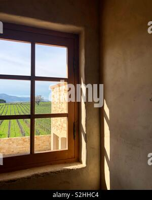 Durch das Fenster am Weinberg Szene Stockbild