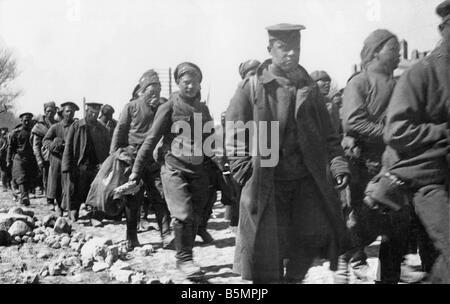 9 1916 3 18 A1 1 E Schlacht o See Narotsch 1916 Rus Gefangenen Weltkrieg östlichen vorderen Niederlage der Stockbild