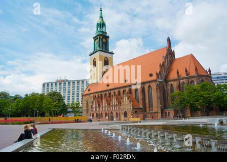 St. Marienkirche, Alexanderplatz, Berlin, Deutschland Stockbild