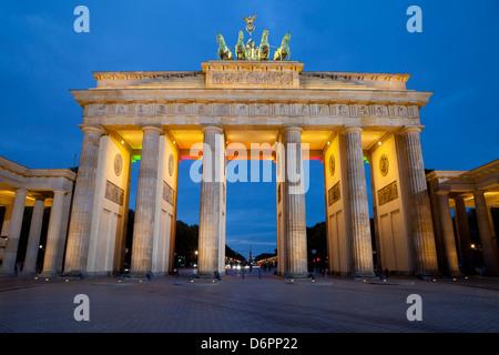 Brandenburger Tor bei Nacht, Berlin, Deutschland, Europa Stockbild