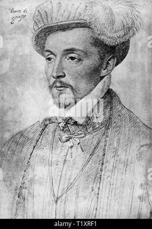 Bildende Kunst, Renaissance, Portrait eines zählen, wahrscheinlich von Jean oder Francois Clouet, Zeichnung, 16. Jahrhundert, Additional-Rights - Clearance-Info - Not-Available Stockbild