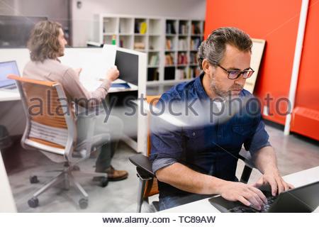 Geschäftsmann, arbeiten am Laptop im Büro Stockbild