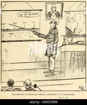 IN DEM VORGESCHLAGENEN CLASSROON BRYAN UNIVERSITÄT IN TENNESSEE, Juli 18, 1925, von Rollin Kirby, NEW YORK Stockbild