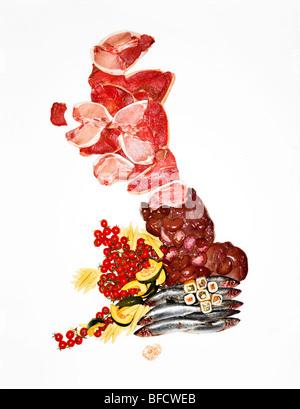 Food-Karte des Vereinigten Königreichs, demonstrieren die vorherrschende Futtersorten aus verschiedenen Bereichen Stockbild