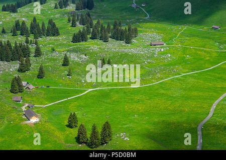 Homestead auf der Schwägalp in den Schweizer Alpen, im Kanton Appenzell Ausserrhoden, Schweiz, vom Säntis Seilbahn gesehen. Stockbild
