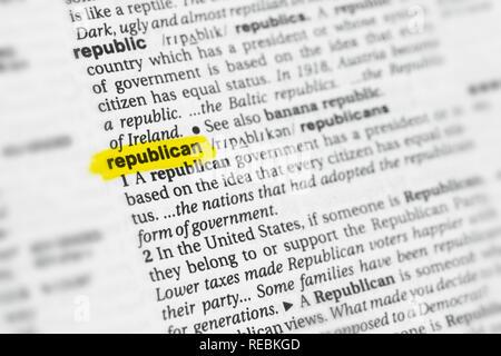 """Hervorgehobene englische Wort """"Republikaner"""" und seiner Definition im Wörterbuch. Stockbild"""