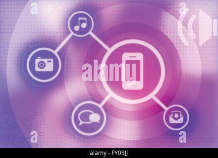Abbildung von digital-Tablette mit apps Stockbild