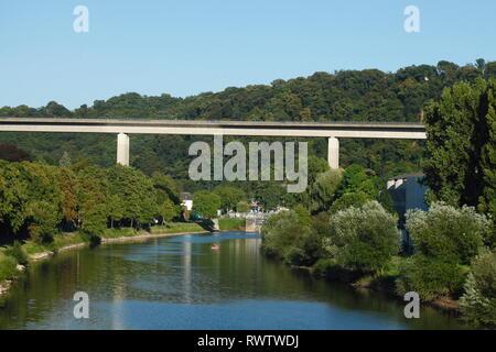 Lahnbrücke, Lahnstein, Unesco Welterbe Oberes Mittelrheintal, Rheinland-Pfalz, Deutschland Stockbild