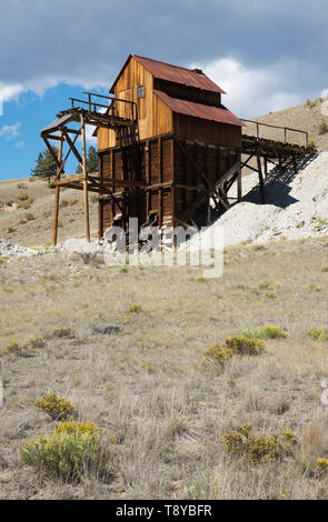 Historische Clay Mine, die bentonit Clay in WW II Munition und anderen Produkten, Creede, Colorado verwendet extrahiert. Digitale Fotografie Stockbild