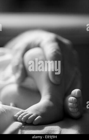 Vater Holding Baby, Nahaufnahme Stockbild