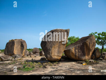 Animist Heiligtum, wo Tieropfer, Savanes Bezirk, Shienlow, Elfenbeinküste Stockbild