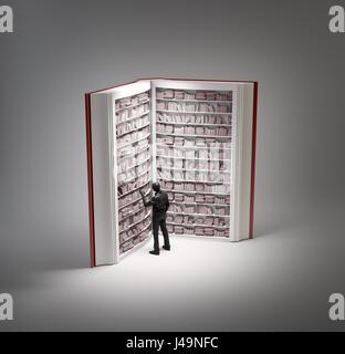 Buch förmigen Bücherregal - 3D-Illustration Stockbild
