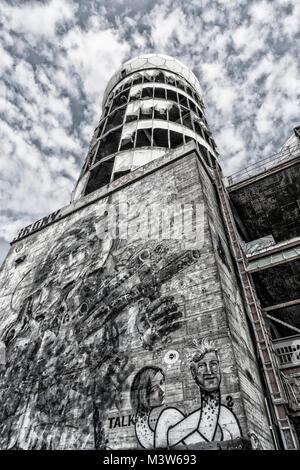Teufelsberg, ehemalige monitoring-System der US-Armee, verlassene Gebäude, Graffiti, Berlin, Deutschland Stockbild