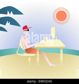 Geschäftsmann am Strand genießen Stockbild