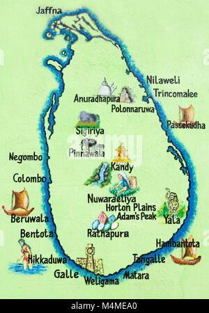 Sri Lanka, Asien, Hikkaduwa - gemalte Karte der Insel Sri Lanka Stockbild