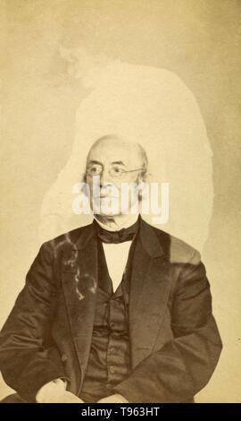 """William Lloyd Garrison mit """"Spirit"""", die zwischen 1862 - 1875. Garrison (1805-1879) war ein prominenter amerikanischer Abolitionist, Journalist, suffragist, und Sozialreformer. Dieses Eiweiß silber Drucken wurde von William H. Mumler (American, 1832 - 1884), Boston, Massachusetts, United States erstellt. Geist Fotografie wurde geglaubt, Bilder von Geistern und anderen spirituellen Wesen zu erfassen. Es war besonders beliebt im 19. Jahrhundert, der zuerst von William H. Mumler in den 1860er Jahren verwendet. Stockbild"""