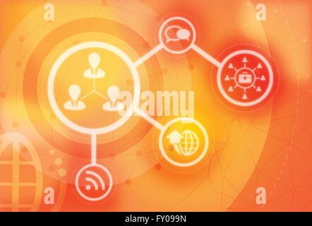 Anschauliches Bild der Vernetzung mit Kommunikations-Systeme und Technologien Stockbild