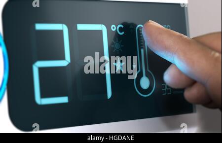 Klimaanlage Temperaturregelung. Finger drücken das Thermometer-symbol auf dem scrren, celsius Einheit. home Stockbild