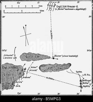 9 1915 1 24 F1 1 Schlacht Helgoland 1915 Skizze Weltkrieg 1914-18 1 Marine Seekrieg schweren Kampf zwischen deutschen Stockbild