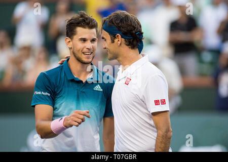 März 17, 2019: Dominic Thiem (AUT) und Roger Federer (SUI) schütteln sich die Hände nach dem Match. Thiem besiegt Federer 6-3, 3-6, 7-5 im Finale der BNP Paribas Open in Indian Wells Tennis Garden in Indian Wells, Kalifornien. © Mal Taam/TennisClix/CSM Stockbild