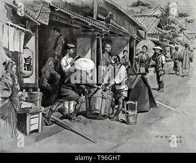 Die Entsorgung der Toten, unter polizeiliche Aufsicht während einer Cholera-Epidemie in Japan. Die dritte Cholera Epidemie hauptsächlich betroffenen Russland, mit über einer Million Todesfälle. 1852, Cholera verbreiten Ost nach Indonesien, und später wurde im Jahre 1854 nach China und Japan durchgeführt. Die Philippinen wurden im Jahr 1858 infiziert und Korea 1859. Im Jahre 1859, ein Ausbruch in Bengalen trug zur Übertragung der Krankheit durch Reisende und Truppen zu Iran, Irak, Saudi-Arabien und Russland. Stockbild