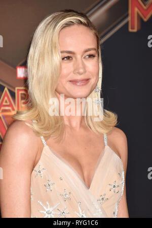 HOLLYWOOD, CA - 04. März: Brie Larson besucht die Marvel Studios' Captain Marvel' Premiere am El Capitan Theatre am März 04, 2019 in Hollywood, Kalifornien. Stockbild