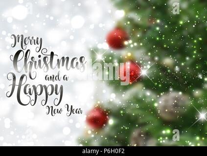 Dekorative Weihnachten Text auf einem Defokussierten Bild Stockbild