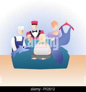 Frau macht Online-shopping und Hotel Reservierung Stockbild
