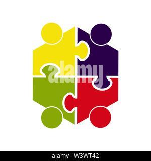 Teamarbeit. Sechskant in Form eines Puzzles aus vier Teilen. Flache Bauform Stockbild