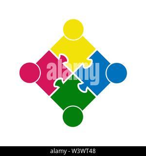 Teamarbeit. Platz in Form eines Puzzles aus vier Teilen. Flache Bauform Stockbild