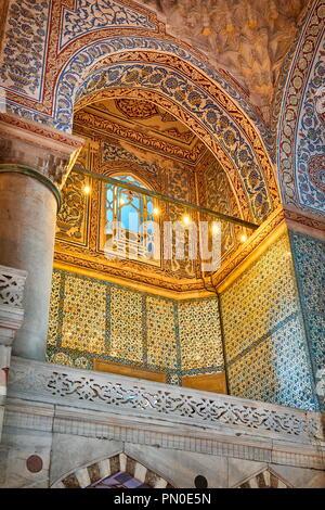 Blaue Moschee Innenraum, Sultan Ahmed Moschee, UNESCO-Weltkulturerbe, Istanbul, Türkei Stockbild