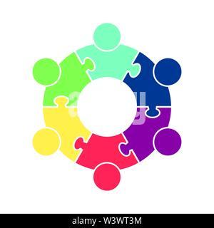 Logo Teamarbeit. Kreis in Form eines Puzzles aus sechs Teilen. Flache Bauform Stockbild