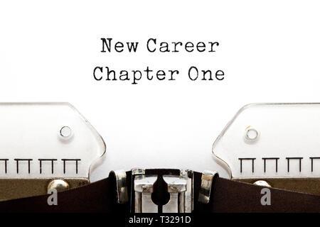 Neue Karriere Kapitel ein motivierendes Konzept auf retro Schreibmaschine. Stockbild