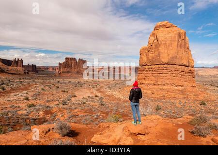 Park Avenue, Arches National Park, Moab, Utah, Vereinigte Staaten von Amerika, Nordamerika Stockbild