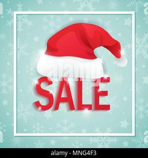 Vector Hintergrund für saisonale Weihnachten Verkauf. Schneeflocken und Hut von Santa Claus auf einem grünen Hintergrund. Stockbild