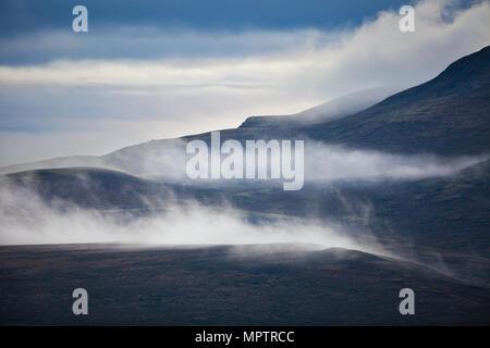 Misty Landschaft im Dovrefjell Nationalpark, Dovre, Norwegen. Stockbild