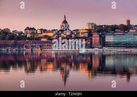 Panorama von Stockholm. Und Sodermanland Stockholm, Uppland, Schweden. Stockbild