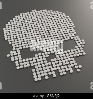 Pillen bilden ein Totenkopf-Symbol - Drug Abuse Konzept 3D illustration Stockbild